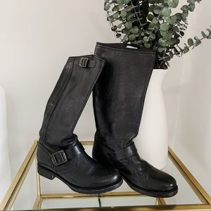 Frye Veronica Slouch Black Slip On Boots